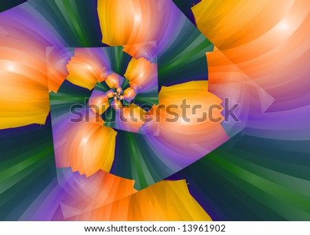Abstract spiral flower in vivid colors.