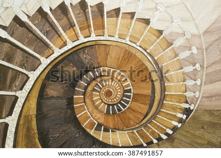 Abstract spiral staircase of wood texture
