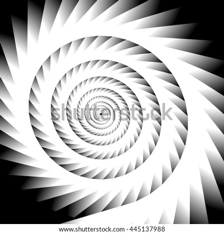 Abstract spiral, vortex graphic. Inward spiral. Artistic monochrome image. - stock photo