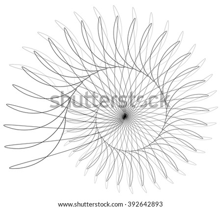 Abstract spirally, monochrome element isolated on white.