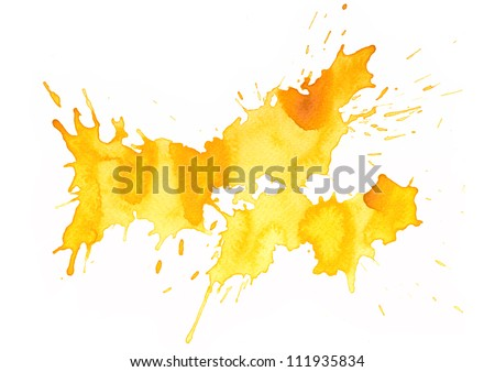 Abstract splash watercolor : illustration on paper - stock photo
