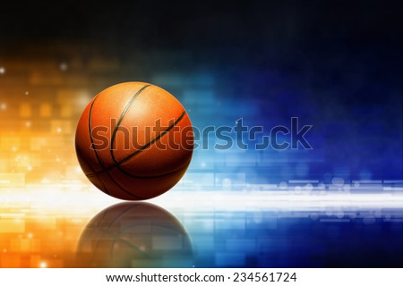 Abstract sports background - basketball with reflection, orange and blue glowing lights  - stock photo