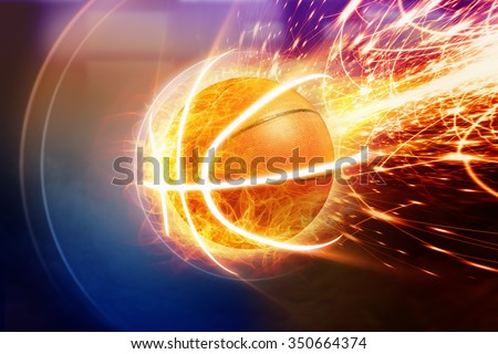 Abstract sports background - burning basketball, orange glowing lights  - stock photo