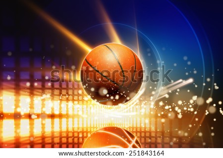 Abstract sports background - glowing basketball with reflection, glowing lights  - stock photo