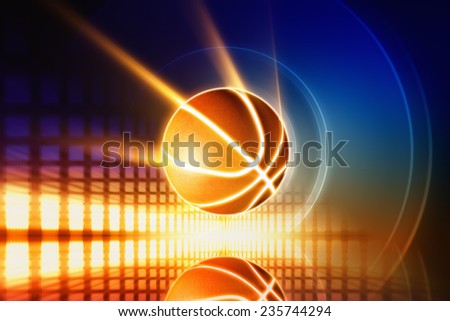 Abstract sports background - glowing basketball with reflection, orange glowing lights  - stock photo