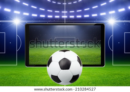 Abstract sports background with soccer ball on green stadium, sports game online concept