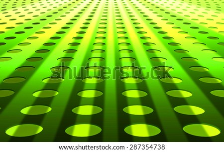 Abstract spotted circle pattern green background perspective view - stock photo