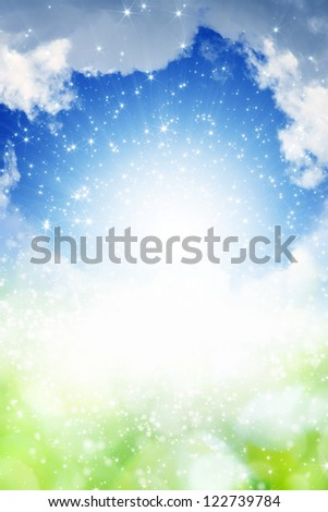 Abstract spring background - bright light from blue sky - stock photo