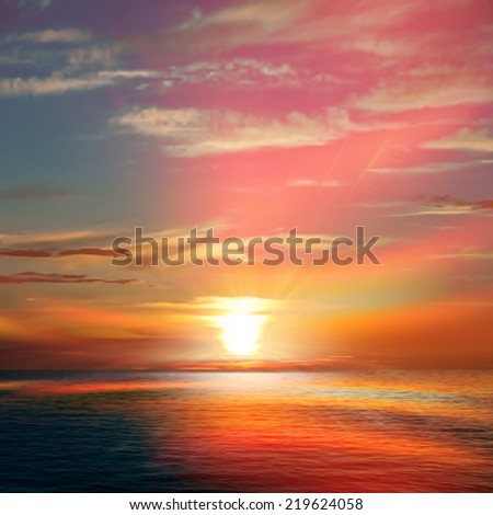 abstract spring background with red sunset and ocean