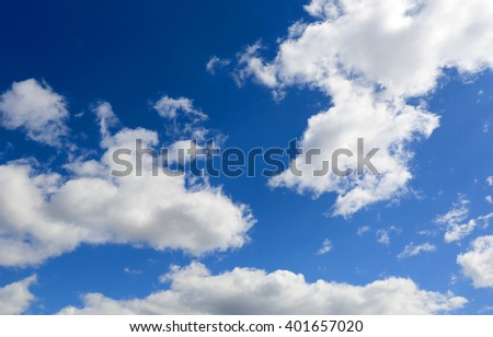 abstract spring blue sky with white clouds - stock photo