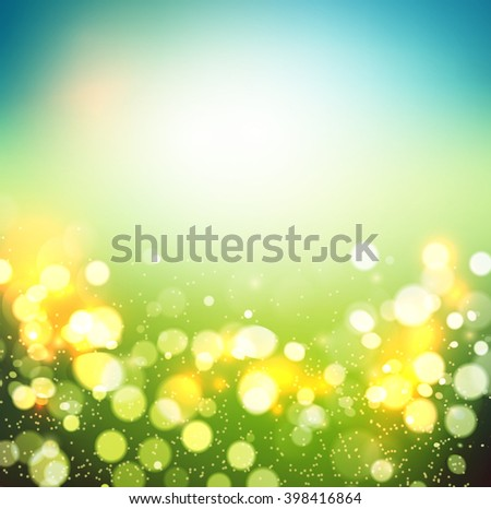Abstract spring defocused background. Green bokeh. Summer blurred meadow. illustration - stock photo