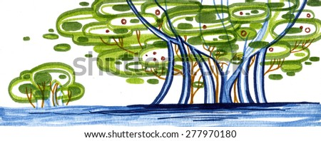 Abstract spring tree bush with water - stock photo