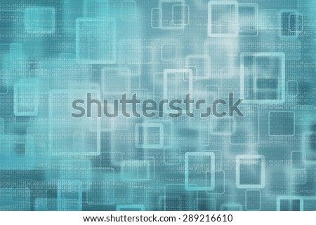 Abstract square and rectangle bokeh turquoise color with partially erased binary code numbers stream illustration background.