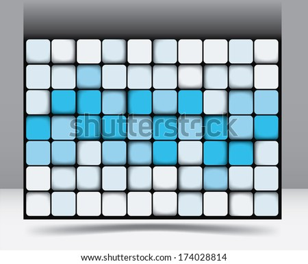 Abstract square background pattern with random shadings in blue graduating through to white of equilateral squares with rounded corners - raster version of vector illustration