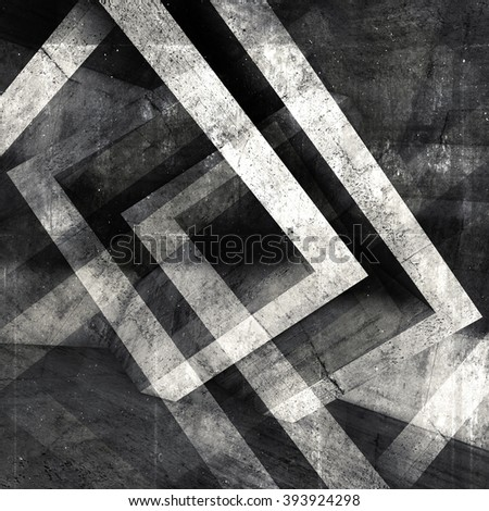 Abstract square concrete background with dark chaotic cubic structures, 3d illustration, multi exposure effect - stock photo