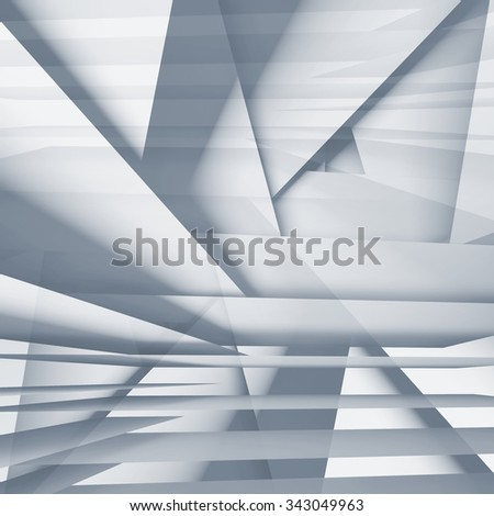 Abstract square digital background with light blue chaotic multi layered stripes, 3d illustration