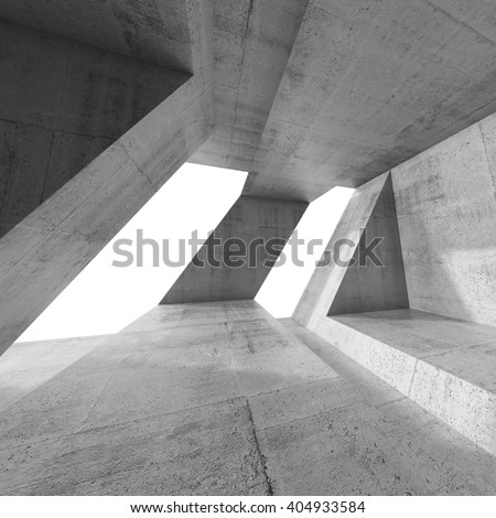 Abstract square empty concrete interior design with windows and chaotic columns structures. Modern architecture background, 3d render illustration - stock photo