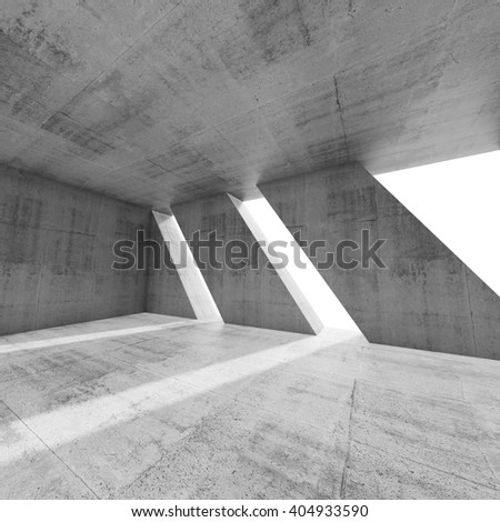 Abstract square empty concrete interior with windows. Modern architecture background, 3d render illustration