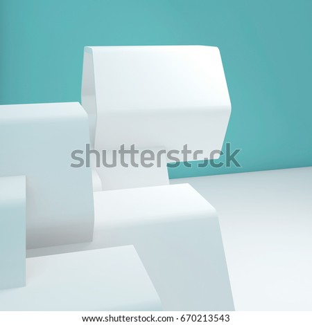 Abstract square interior background with white hexagonal installation near blue wall. 3d render illustration