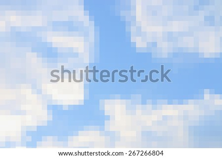abstract square pixel mosaic of sky background - stock photo