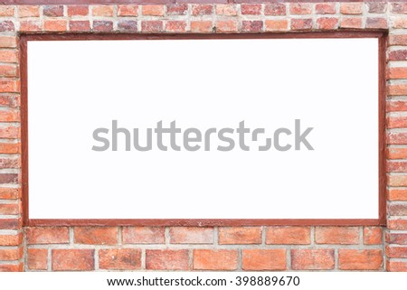 Abstract square red brick wall texture with white empty space for design