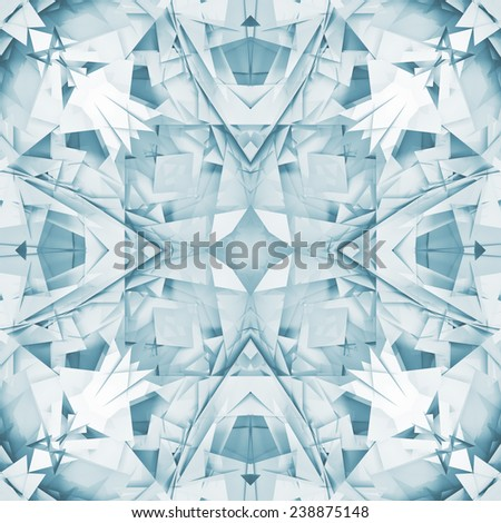 Abstract square seamless blue and white background texture with digital geometric kaleidoscope pattern - stock photo