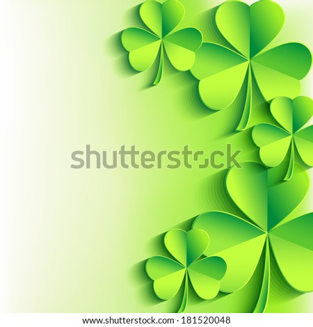 Abstract St. Patrick's day card with leaf clover. Stylish Patricks day background with green clover leaves. Trendy bright floral background. Raster version  - stock photo