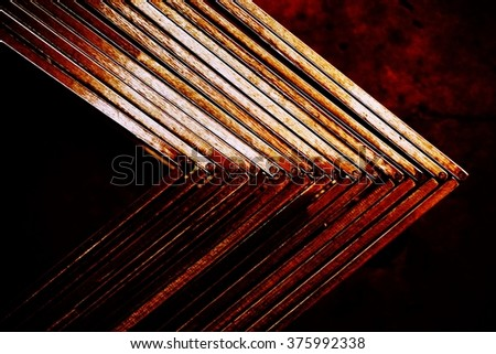 abstract stack of metal angle for background used - stock photo