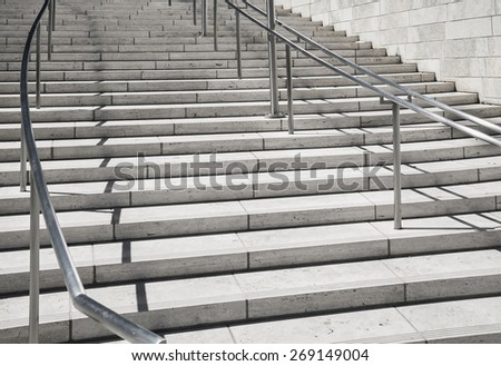Abstract stairs in black and white, climb to achievement and leadership concept - stock photo