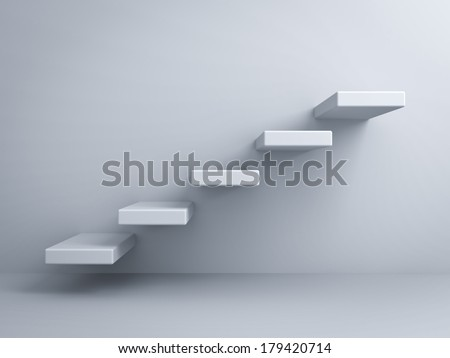 Abstract stairs or steps concept on white wall background - stock photo