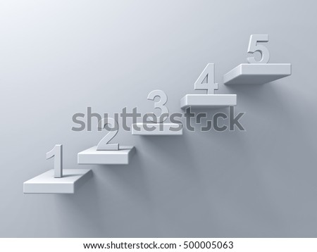 Abstract stairs or steps concept on white wall background with number one to five. 3D rendering.