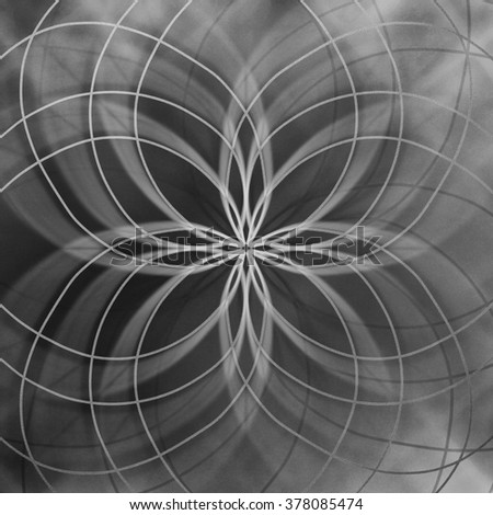 abstract star pattern on black and white background, symmetrical curved lines in pretty design - stock photo