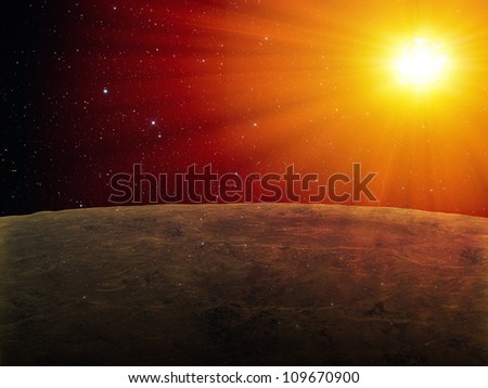 Abstract star seen from the surface of an exoplanet - stock photo