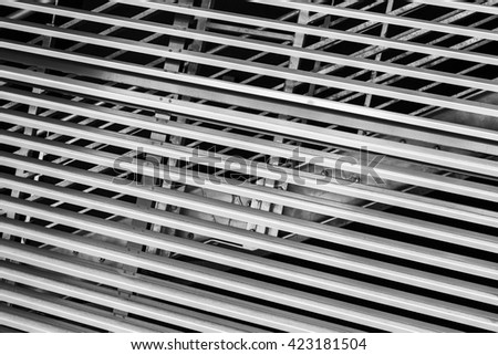 Abstract steel constructions, modern industrial architecture fragment, stairs and shutters - stock photo