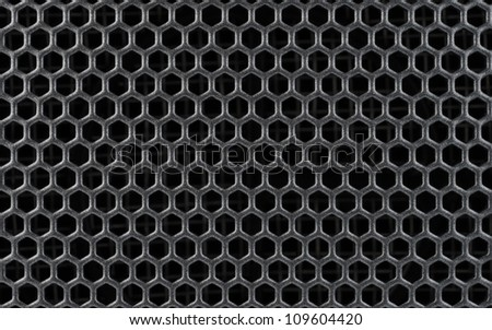 Abstract Steel or Metal Textured Pattern with Hexagonal Cells As Industrial Background - stock photo