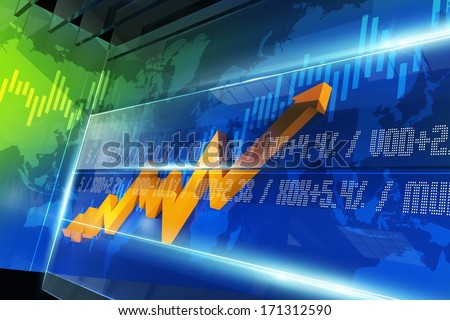 Abstract Stock Market Chart with Glassy Elements, Orange Stat Arrow and World Map. 3D Render Illustration. - stock photo