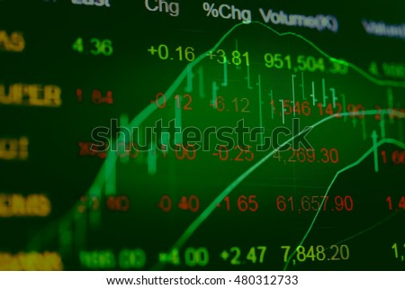 Abstract stock market finance diagram on dark background: Forex Currency Trading Concept on computer screen.