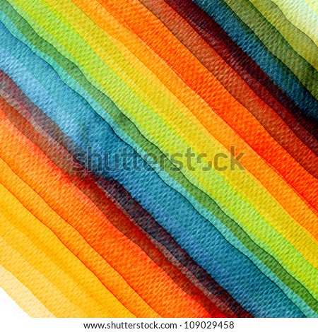 Abstract stripe watercolors ; colors wet on dry paper - stock photo