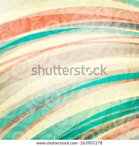 abstract striped background with curly ornament and shabby paper texture - stock photo