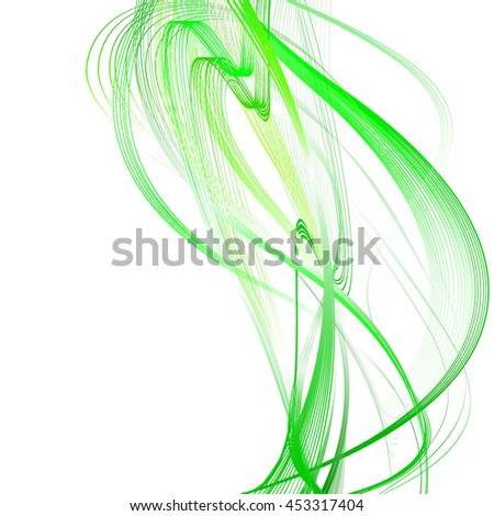 Abstract Structural Curved Pattern. Green Lines and Yellow Waves. Raster 3d Illustration - stock photo