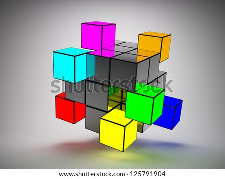 Abstract structure of cubes with colored key elements - stock photo