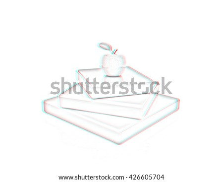 Abstract structure with apple. Japanese still life on a white background. Pencil drawing. 3D illustration. Anaglyph. View with red/cyan glasses to see in 3D. - stock photo