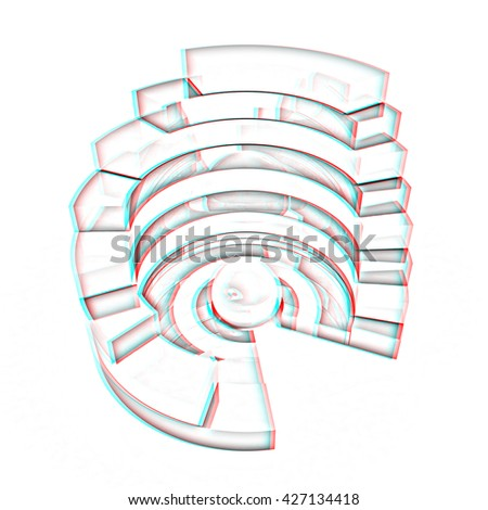 Abstract structure with green bal in the center on a white background. Pencil drawing. 3D illustration. Anaglyph. View with red/cyan glasses to see in 3D. - stock photo