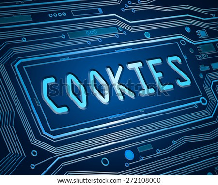 Abstract style illustration depicting printed circuit board components with a cookies concept. - stock photo