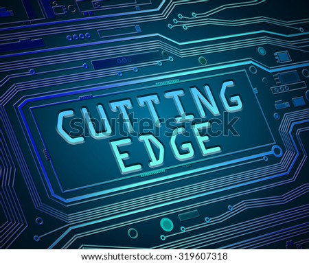 Abstract style illustration depicting printed circuit board components with a cutting edge concept. - stock photo
