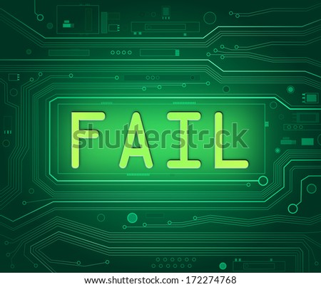 Abstract style illustration depicting printed circuit board components with a fail concept. - stock photo