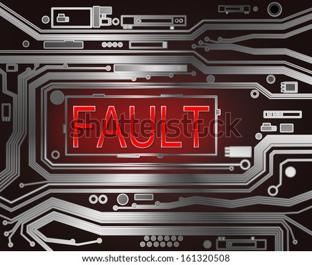Abstract style illustration depicting printed circuit board components with a fault concept.. - stock photo