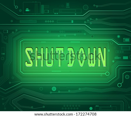 Abstract style illustration depicting printed circuit board components with a shut down concept. - stock photo