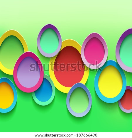 Abstract stylish background with colorful 3d Easter eggs. Easter card with Easter eggs. Beautiful trendy Easter background. Raster version