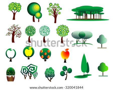 Abstract stylized cartoon style tree icons isolated on white colored background, suitable for ecology, environment and bio design